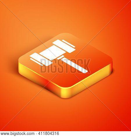 Isometric Judge Gavel Icon Isolated On Orange Background. Gavel For Adjudication Of Sentences And Bi