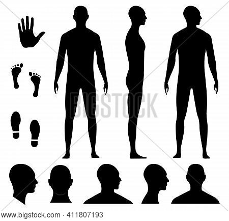 Human Body Silhouette Of A Bald Naked Barefoot Adult Man. Anonymous Male Head Avatar. Palm Hand, Bar