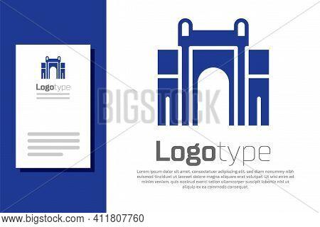 Blue India Gate In New Delhi, India Icon Isolated On White Background. Gate Way Of India Mumbai. Log