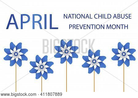 Child Abuse Prevention And Awareness Month Of April. Stop Child Violence. Children Protection And Sa