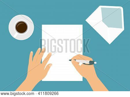 Flat Design Illustration Of Male Or Female Hand Writing Letter With Pen On Blank Sheet Of Paper. Ope