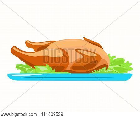 Fried Poultry On A Plate With Salad. Isolated Element On A White Background.