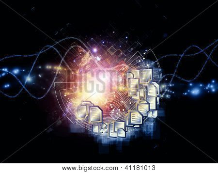 document symbols lights and abstract technology elements arrangement suitable as a backdrop in projects on document processing messaging cloud storage and related technologies poster