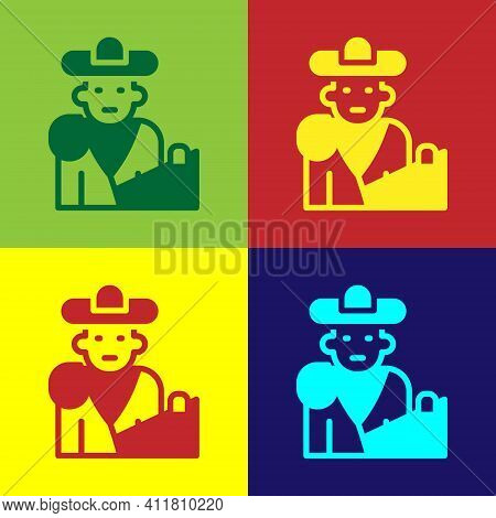 Pop Art Spain Bullfight, Matador Icon Isolated On Color Background. Traditional Spanish Entertainmen