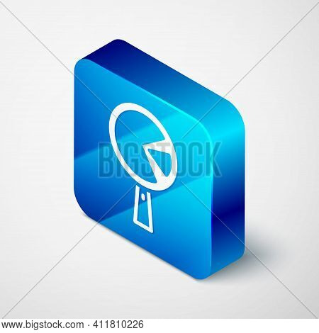 Isometric Omelette In Frying Pan Icon Isolated On Grey Background. Omelet In A Skillet. Blue Square