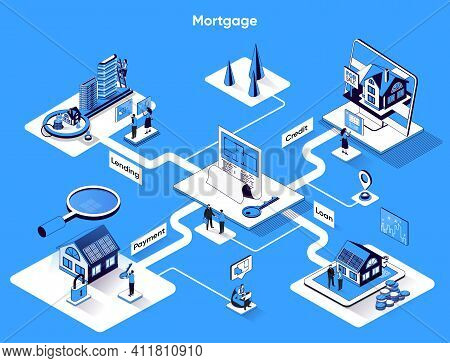 Mortgage Isometric Web Banner. Real Estate Buying And Banking Services Flat Isometry Concept. Credit
