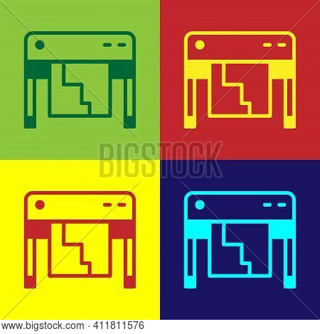 Pop Art Plotter Icon Isolated On Color Background. Large Format Multifunction Printer. Polygraphy, P