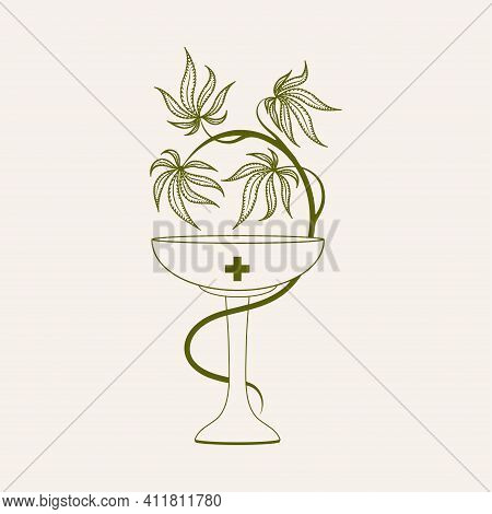 Medical Cannabis Or Hemp. Bowl Entwined With Cannabis Or Hemp. Legalization Of Cannabis.