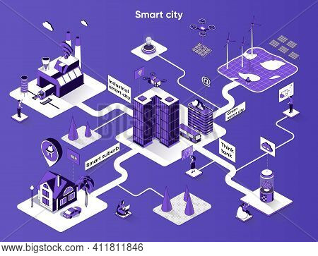 Smart City Isometric Web Banner. Urban Infrastructure And Buildings Flat Isometry Concept. Industria