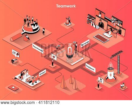 Teamwork Isometric Web Banner. Business Meetings And Partnership Flat Isometry Concept. Union Busine