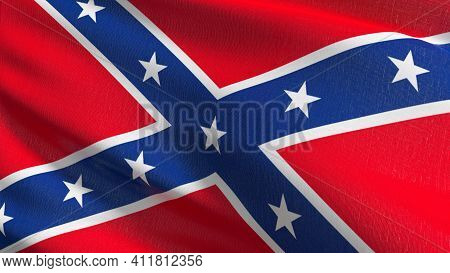 Flag Of Dixieland Or Confederate States Army In Usa Or The United States Of America. 3D Rendering Il