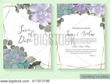Floral Design For Wedding Invitation. Juicy Succulents, Green Eucalyptus, Gold Frame. Template For Y