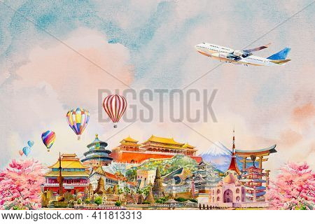 Travel Around The World And Sights Famous Landmarks Grouped Together. Watercolor Painting Illustrati