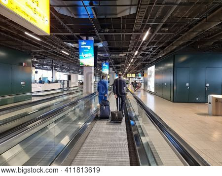 Amsterdam Netherlands March 2021, Empty Terminal At Schiphol Airport Amsterdam During Covid 19 Coron
