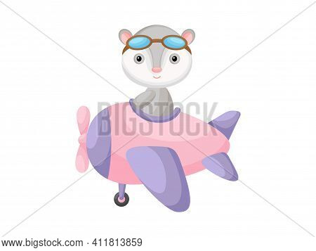 Little Opossum Wearing Aviator Goggles Flying An Airplane. Funny Baby Character Flying On Plane For