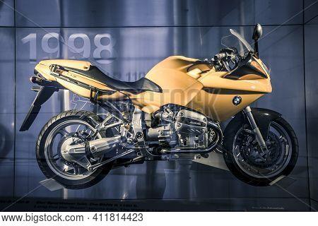 Munich/ Germany - May, 24 2019: Bmw R 1100 B Motocycle In Bmw Museum/ Bmw Welt