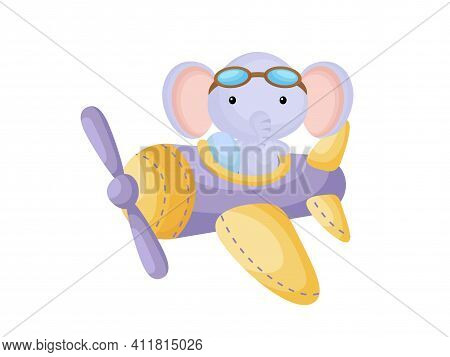 Little Elephant Wearing Aviator Goggles Flying An Airplane. Funny Baby Character Flying On Plane For