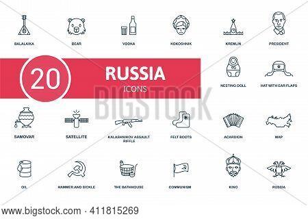 Russia Icon Set. Contains Editable Icons Russia Theme Such As Bear, Kokoshnik, Putin And More.