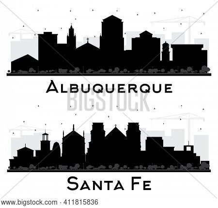 Santa Fe and Albuquerque New Mexico City Skyline Silhouette Set with Black Buildings Isolated on White.