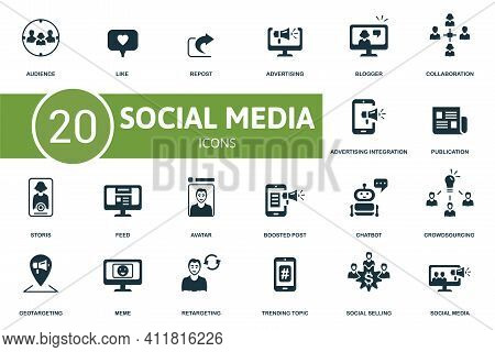 Social Media Icon Set. Contains Editable Icons Social Media Theme Such As Like, Advertising, Callabe