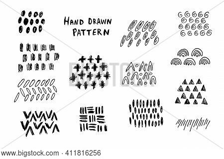 Collection Of Hand Drawn Abstract Shapes. Scribbles Handwritten With Pen Or Pencil. Simple Vector Il