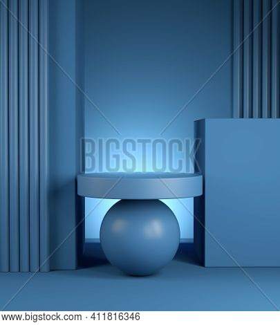 Modern Minimal Mockup Blue Podium Geometry Composition Abstract Background 3d Render