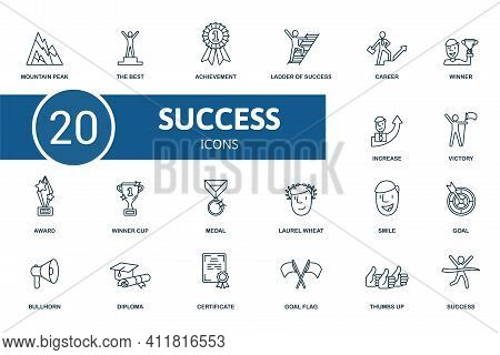 Success Icon Set. Contains Editable Icons Success Theme Such As The Best, Lader Og Success, Winner A