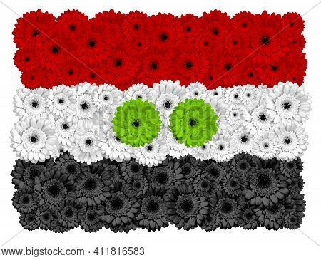 Iraqi Flag Made Of Gerbera Flowers, Isolated On White
