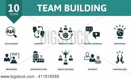 Team Building Icon Set. Contains Editable Icons Team Building Theme Such As Synergy, Positive Feedba