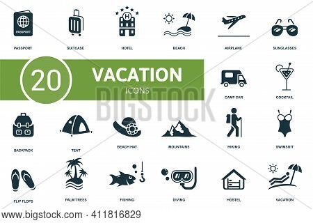 Vacation Icon Set. Contains Editable Icons Vacation Theme Such As Suitcase, Beach, Sunglasses And Mo