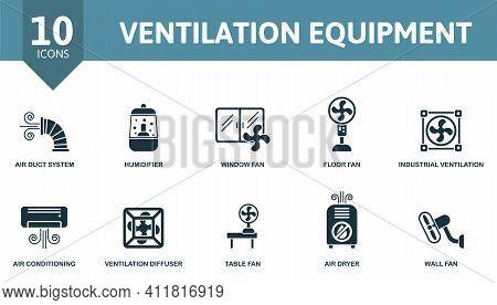 Ventilation Equipment Icon Set. Contains Editable Icons Ventilation Equipment Theme Such As Humidifi