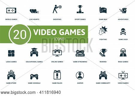 Video Games Icon Set. Contains Editable Icons Video Games Theme Such As Live Hearts, Sport Games, Ad