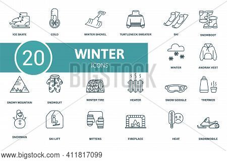 Winter Icon Set. Contains Editable Icons Winter Theme Such As Heater, Winter Shovel, Snow Boot And M