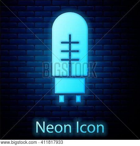 Glowing Neon Light Emitting Diode Icon Isolated On Brick Wall Background. Semiconductor Diode Electr