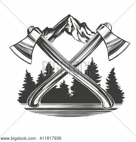 Axes On The Background Of Mountains And Forests, An Emblem For Tourism Hand Drawn Vector Illustratio