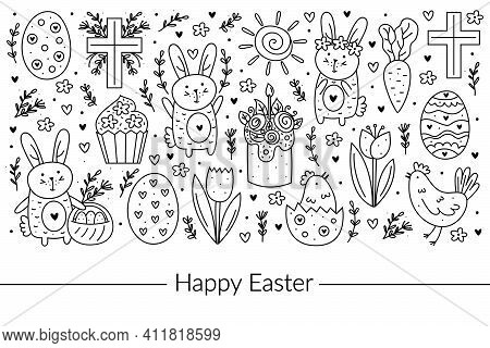 Happy Easter Doodle Line Art Design. Black Monochrome Elements. Rabbit, Bunny, Christian Cross, Cake