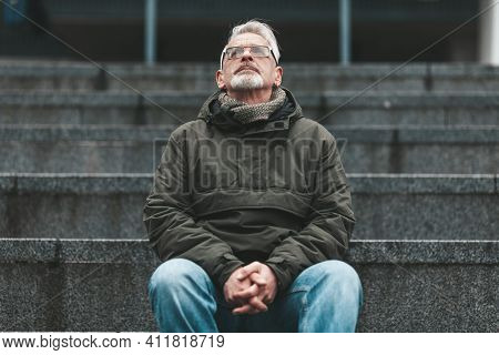 A Lonely Man Calls To God. The Older Man Has Hope And Thoughts. Stress And Despair In Adulthood.