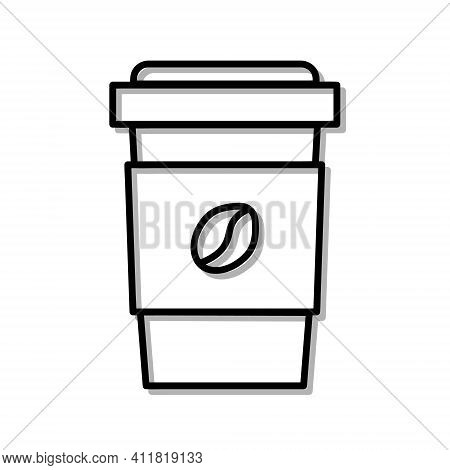 Classic Cup Of Coffe Drink. Flat Icon In Outline Design. Black Stroke. Pictogram For Website Vector