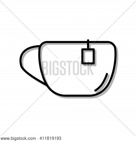 Classic Cup Of Tea Or Coffe Drink. Flat Icon In Outline Design. Black Stroke. Pictogram For Website