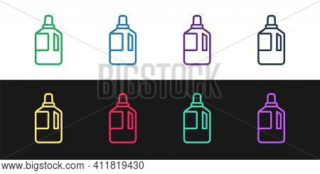 Set Line Fabric Softener Icon Isolated On Black And White Background. Liquid Laundry Detergent, Cond