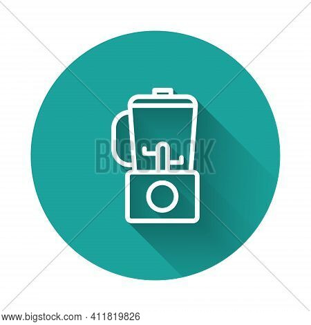 White Line Blender Icon Isolated With Long Shadow. Kitchen Electric Stationary Blender With Bowl. Co