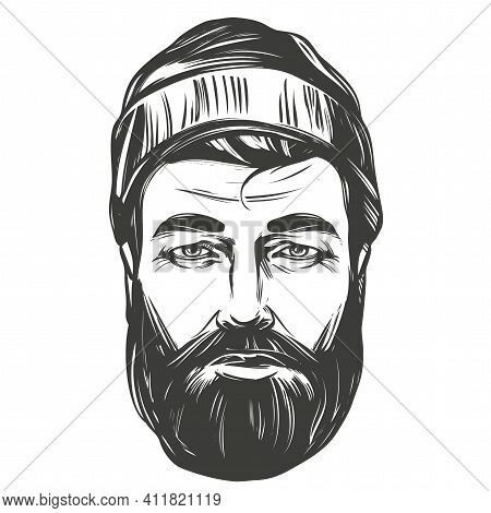 Face Of A Bearded Man In A Hat Hand Drawn Vector Illustration Realistic Sketch