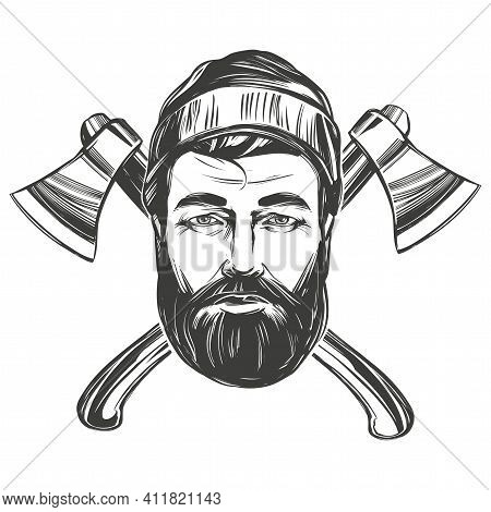 Face Of A Burly Woodcutter Against The Background Of Axes Hand Drawn Vector Illustration Sketch