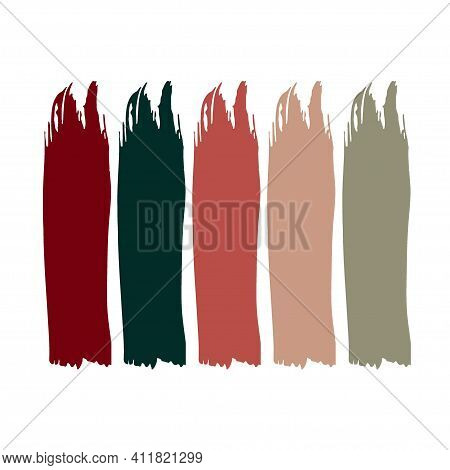 Wedding Color Dress Code Example. Vector Paint Strokes Set. Different Color Spots Isolated On White