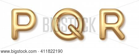 Yellow P Q R 3d Balloons Font Vector Icons. Gold Precious Metallic Typography With Shiny Highlights