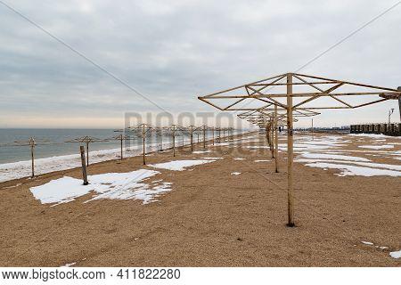 Schaslyvtseve, Ukraine - February 20, 2021: This Is An Empty Resort Beach In Azov In Winter.