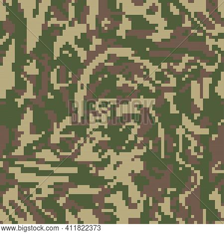 Digital Green Khaki Camo, Seamless Pattern. Military Camouflage, Texture. Soldier  Fabric Textile Pr