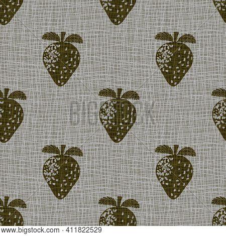 Linocut Print Strawberries Linen Vector Seamless Pattern Background.sepia Fruit Motifs Blended Onto
