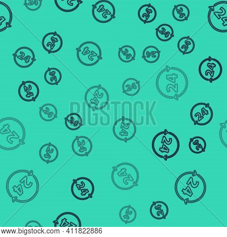 Black Line Clock 24 Hours Icon Isolated Seamless Pattern On Green Background. All Day Cyclic Icon. 2