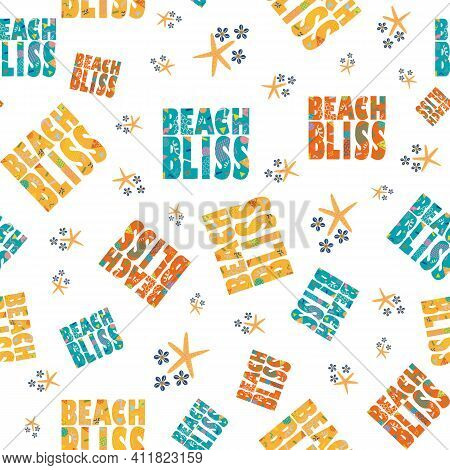 Beach Bliss Typography Vector Seamless Pattern Background.tropical Color Memphis Design Text, Oean S